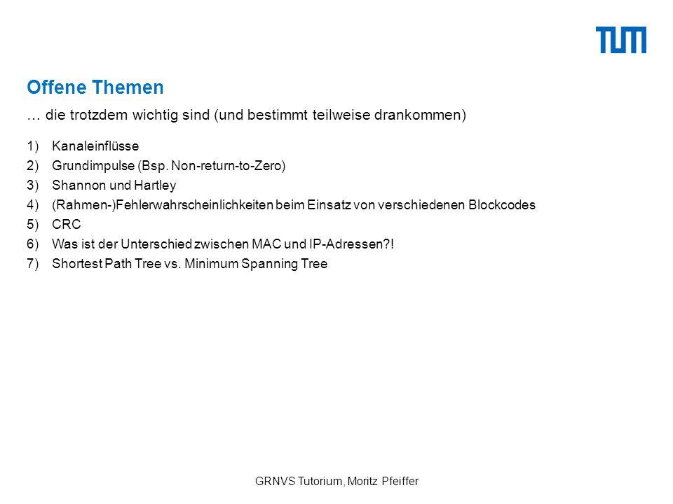Offene Themen 1)Kanaleinflüsse 2)Grundimpulse (Bsp.