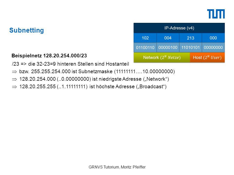 """Subnetting GRNVS Tutorium, Moritz Pfeiffer Beispielnetz 128.20.254.000/23 /23 => die 32-23=9 hinteren Stellen sind Hostanteil  128.20.254.000 (..0.00000000) ist niedrigste Adresse (""""Network )  128.20.255.255 (..1.11111111) ist höchste Adresse (""""Broadcast )  bzw."""