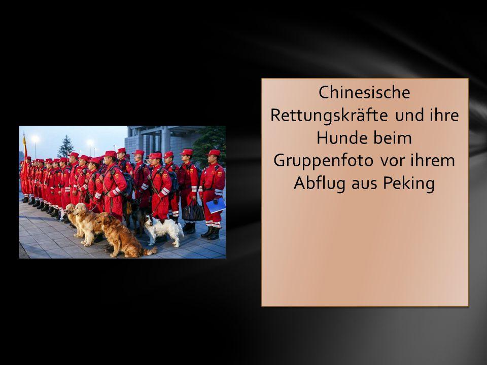 Chinesische Rettungskräfte und ihre Hunde beim Gruppenfoto vor ihrem Abflug aus Peking