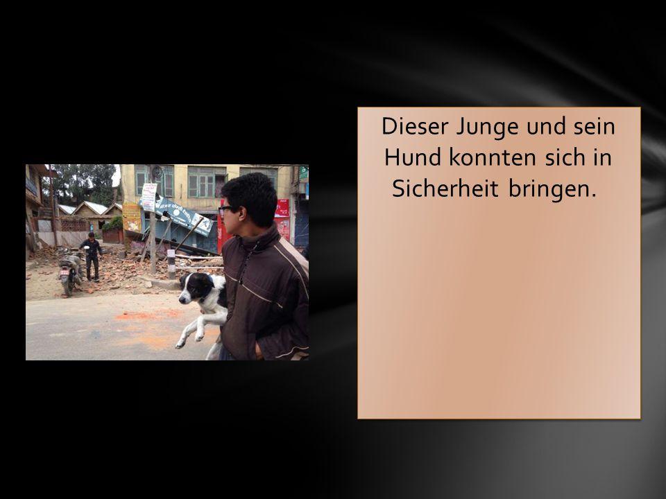 Dieser Junge und sein Hund konnten sich in Sicherheit bringen.