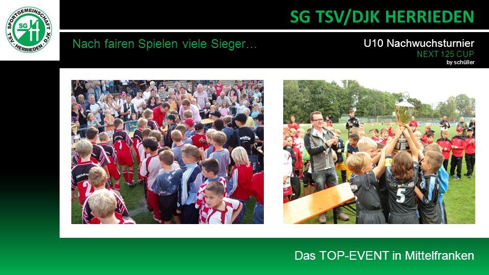 Das TOP-EVENT in Mittelfranken SG TSV/DJK HERRIEDEN Nach fairen Spielen viele Sieger… U10 Nachwuchsturnier NEXT 125 CUP by schüller