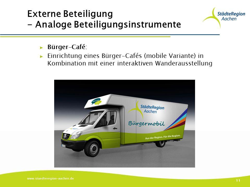 Externe Beteiligung - Analoge Beteiligungsinstrumente ▶ Bürger-Café: ▶ Einrichtung eines Bürger-Cafés (mobile Variante) in Kombination mit einer interaktiven Wanderausstellung www.staedteregion-aachen.de 11