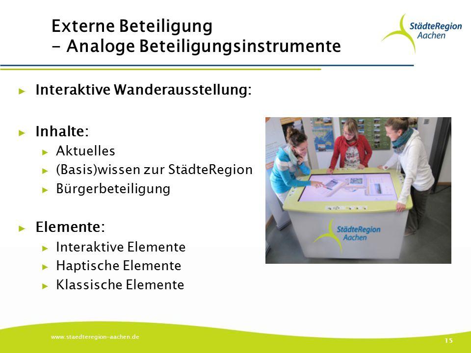 Externe Beteiligung - Analoge Beteiligungsinstrumente ▶ Interaktive Wanderausstellung: ▶ Inhalte: ▶ Aktuelles ▶ (Basis)wissen zur StädteRegion ▶ Bürge