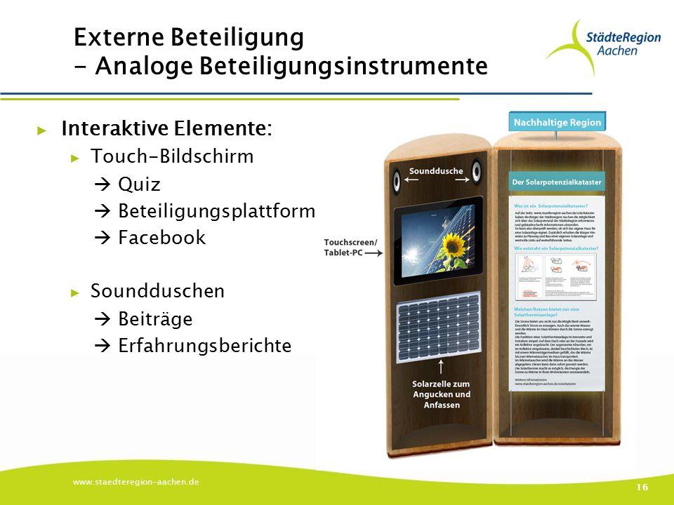 Externe Beteiligung - Analoge Beteiligungsinstrumente ▶ Interaktive Elemente: ▶ Touch-Bildschirm  Quiz  Beteiligungsplattform  Facebook ▶ Sounddusc