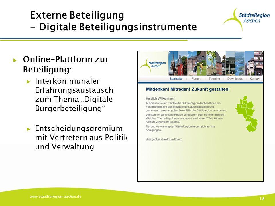 """Externe Beteiligung - Digitale Beteiligungsinstrumente ▶ Online-Plattform zur Beteiligung: ▶ Interkommunaler Erfahrungsaustausch zum Thema """"Digitale B"""