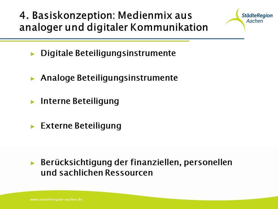 www.staedteregion-aachen.de 4. Basiskonzeption: Medienmix aus analoger und digitaler Kommunikation ▶ Digitale Beteiligungsinstrumente ▶ Analoge Beteil