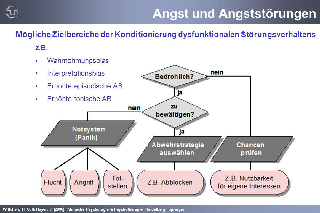 Angst und Angststörungen Mögliche Zielbereiche der Konditionierung dysfunktionalen Störungsverhaltens z.B. Wahrnehmungsbias Interpretationsbias Erhöht