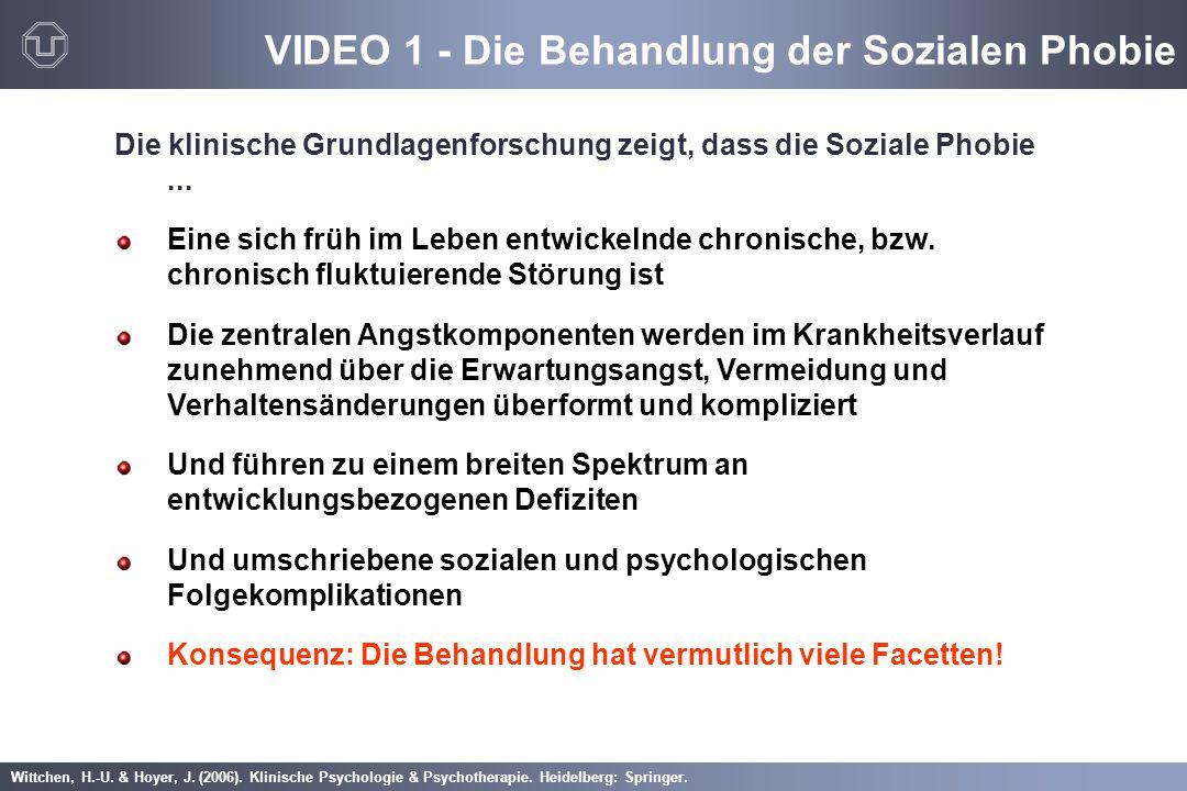Wittchen, H.-U. & Hoyer, J. (2006). Klinische Psychologie & Psychotherapie. Heidelberg: Springer. VIDEO 1 - Die Behandlung der Sozialen Phobie Die kli