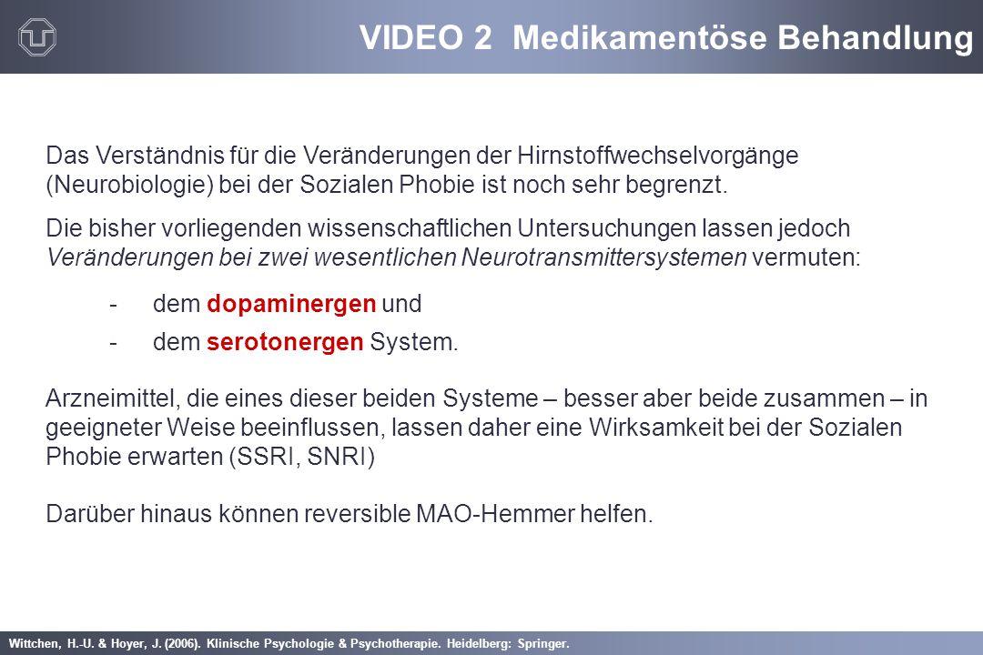 Wittchen, H.-U. & Hoyer, J. (2006). Klinische Psychologie & Psychotherapie. Heidelberg: Springer. VIDEO 2 Medikamentöse Behandlung Das Verständnis für