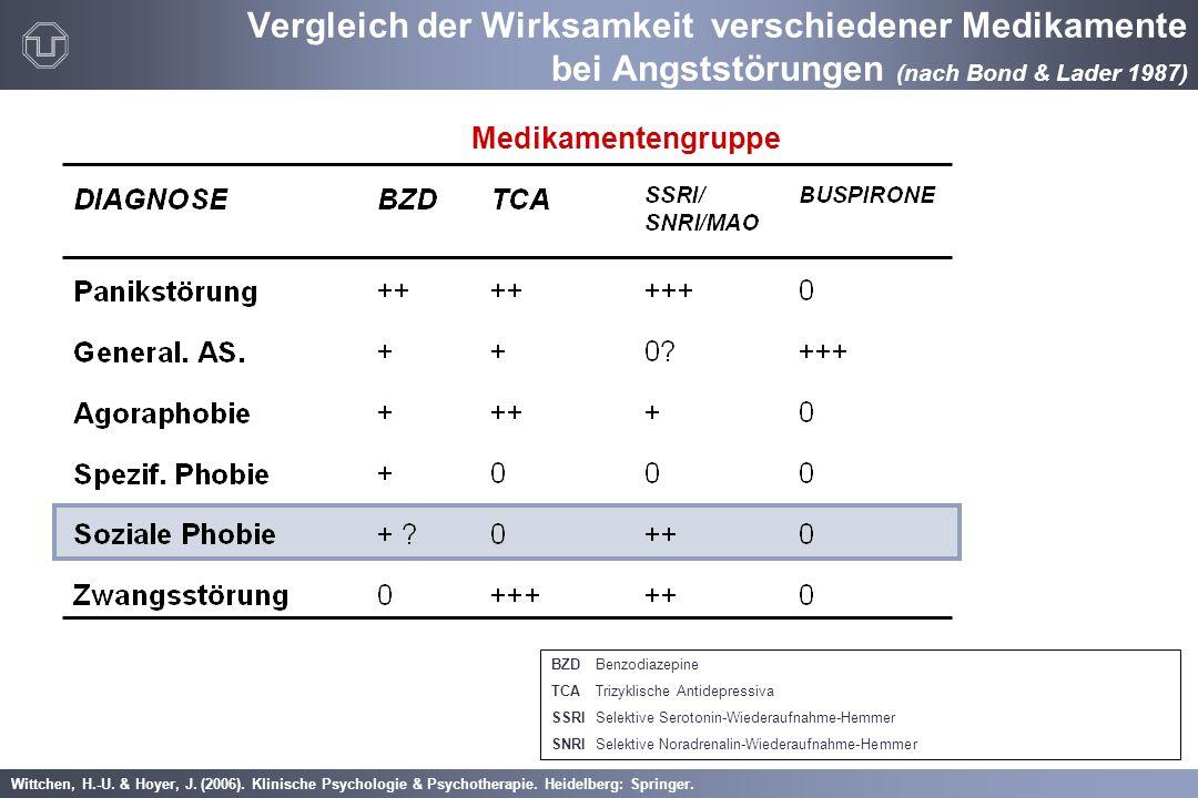 Wittchen, H.-U. & Hoyer, J. (2006). Klinische Psychologie & Psychotherapie. Heidelberg: Springer. Medikamentengruppe BZDBenzodiazepine TCATrizyklische