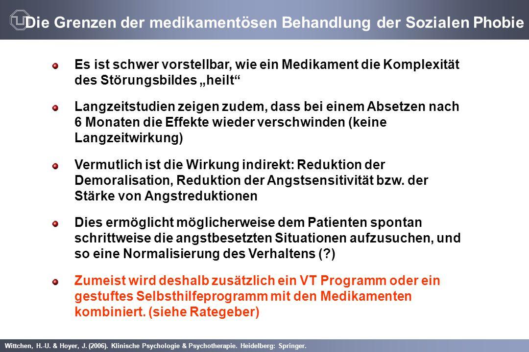 Wittchen, H.-U. & Hoyer, J. (2006). Klinische Psychologie & Psychotherapie. Heidelberg: Springer. Die Grenzen der medikamentösen Behandlung der Sozial