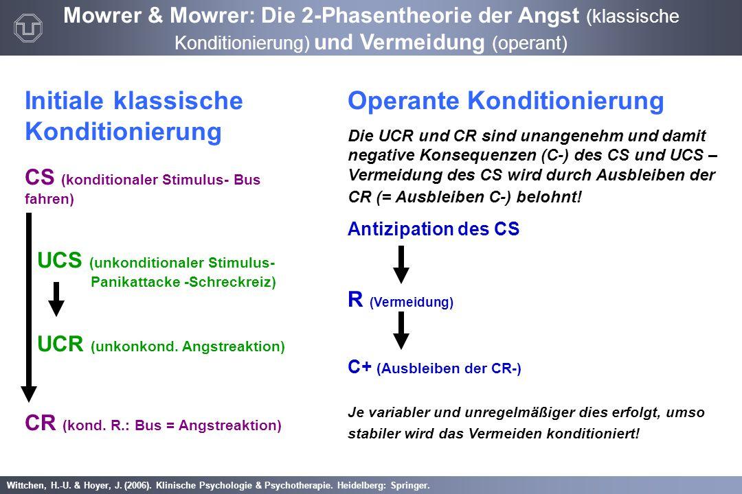 Wittchen, H.-U. & Hoyer, J. (2006). Klinische Psychologie & Psychotherapie. Heidelberg: Springer. Mowrer & Mowrer: Die 2-Phasentheorie der Angst (klas