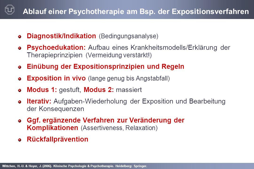 Wittchen, H.-U. & Hoyer, J. (2006). Klinische Psychologie & Psychotherapie. Heidelberg: Springer. Ablauf einer Psychotherapie am Bsp. der Expositionsv