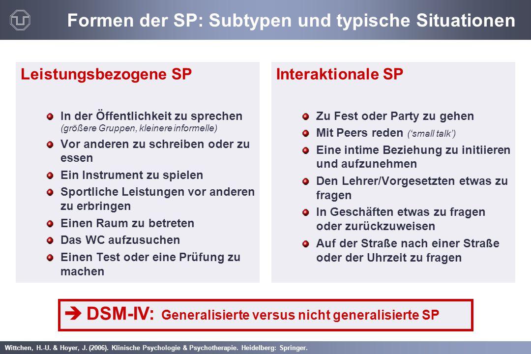 Wittchen, H.-U. & Hoyer, J. (2006). Klinische Psychologie & Psychotherapie. Heidelberg: Springer. Formen der SP: Subtypen und typische Situationen Lei