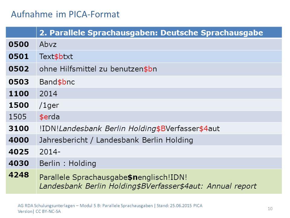 Aufnahme im PICA-Format AG RDA Schulungsunterlagen – Modul 5 B: Parallele Sprachausgaben | Stand: 25.06.2015 PICA Version| CC BY-NC-SA 10 2.