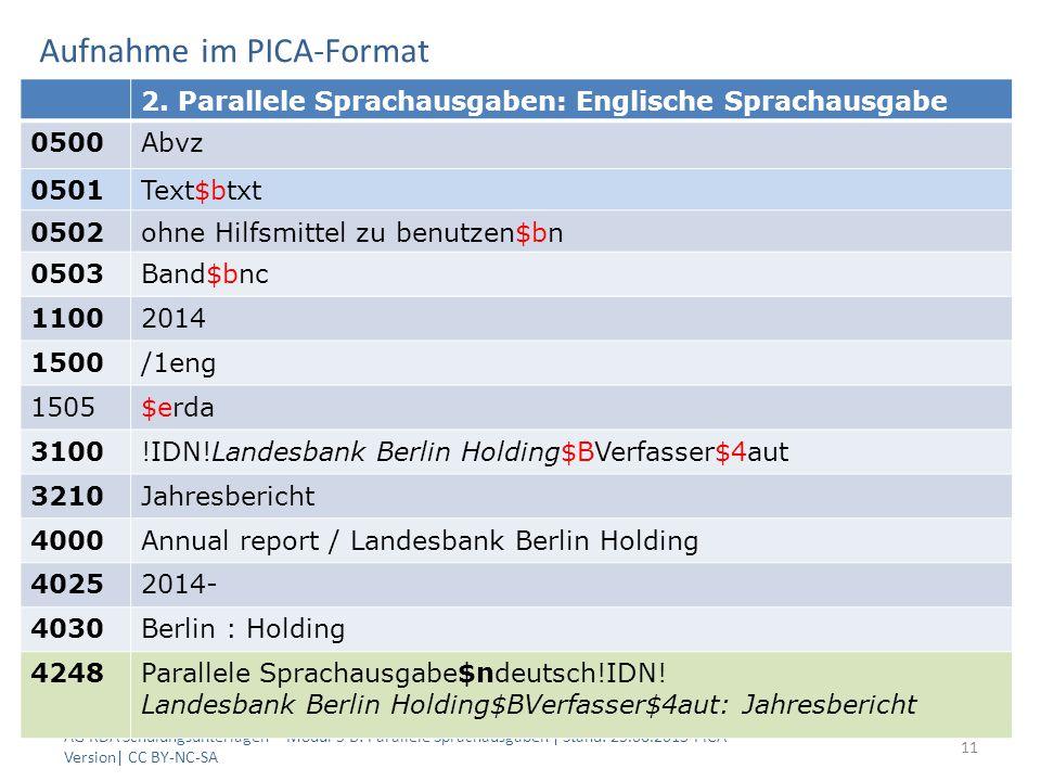 Aufnahme im PICA-Format AG RDA Schulungsunterlagen – Modul 5 B: Parallele Sprachausgaben | Stand: 25.06.2015 PICA Version| CC BY-NC-SA 11 2.