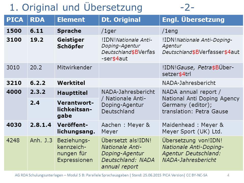 1. Original und Übersetzung-2- AG RDA Schulungsunterlagen – Modul 5 B: Parallele Sprachausgaben | Stand: 25.06.2015 PICA Version| CC BY-NC-SA4 PICARDA