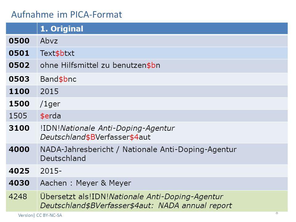 Aufnahme im PICA-Format AG RDA Schulungsunterlagen – Modul 5 B: Parallele Sprachausgaben | Stand: 25.06.2015 PICA Version| CC BY-NC-SA 8 1.