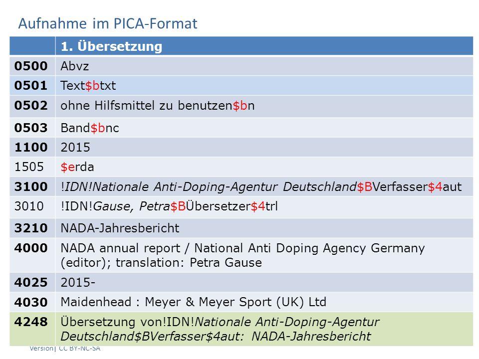Aufnahme im PICA-Format AG RDA Schulungsunterlagen – Modul 5 B: Parallele Sprachausgaben | Stand: 25.06.2015 PICA Version| CC BY-NC-SA 9 1.