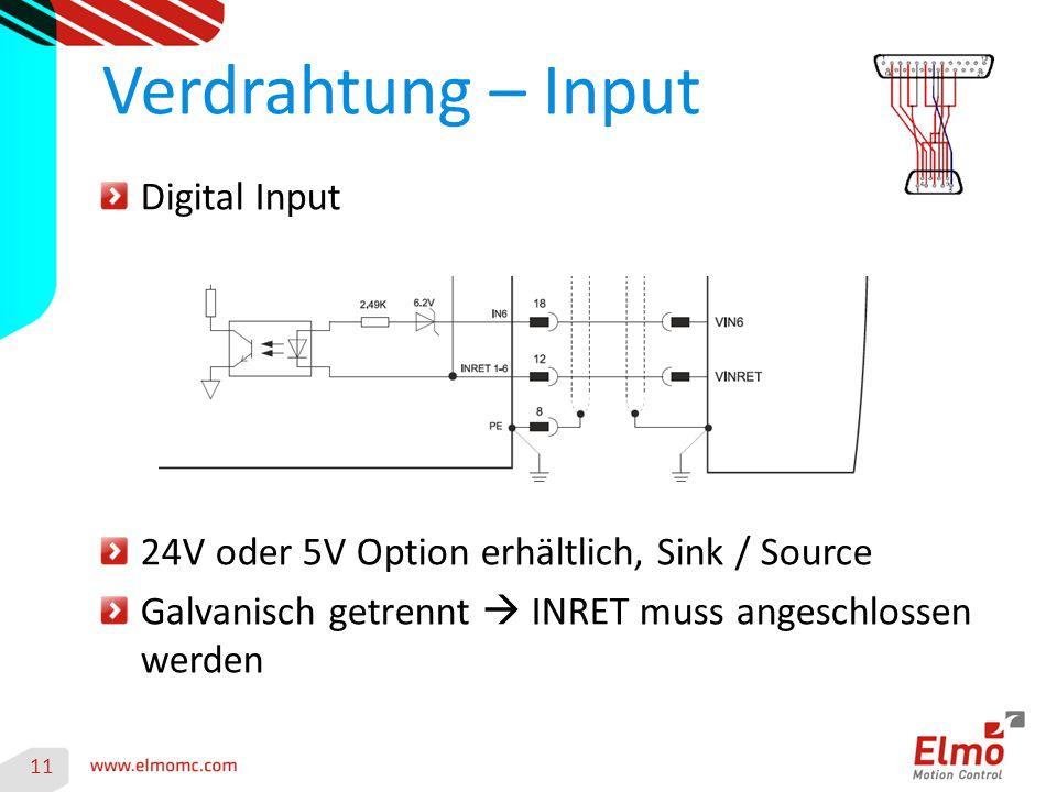11 Verdrahtung – Input Digital Input 24V oder 5V Option erhältlich, Sink / Source Galvanisch getrennt  INRET muss angeschlossen werden