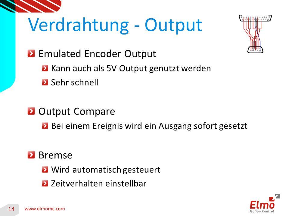 14 Verdrahtung - Output Emulated Encoder Output Kann auch als 5V Output genutzt werden Sehr schnell Output Compare Bei einem Ereignis wird ein Ausgang sofort gesetzt Bremse Wird automatisch gesteuert Zeitverhalten einstellbar