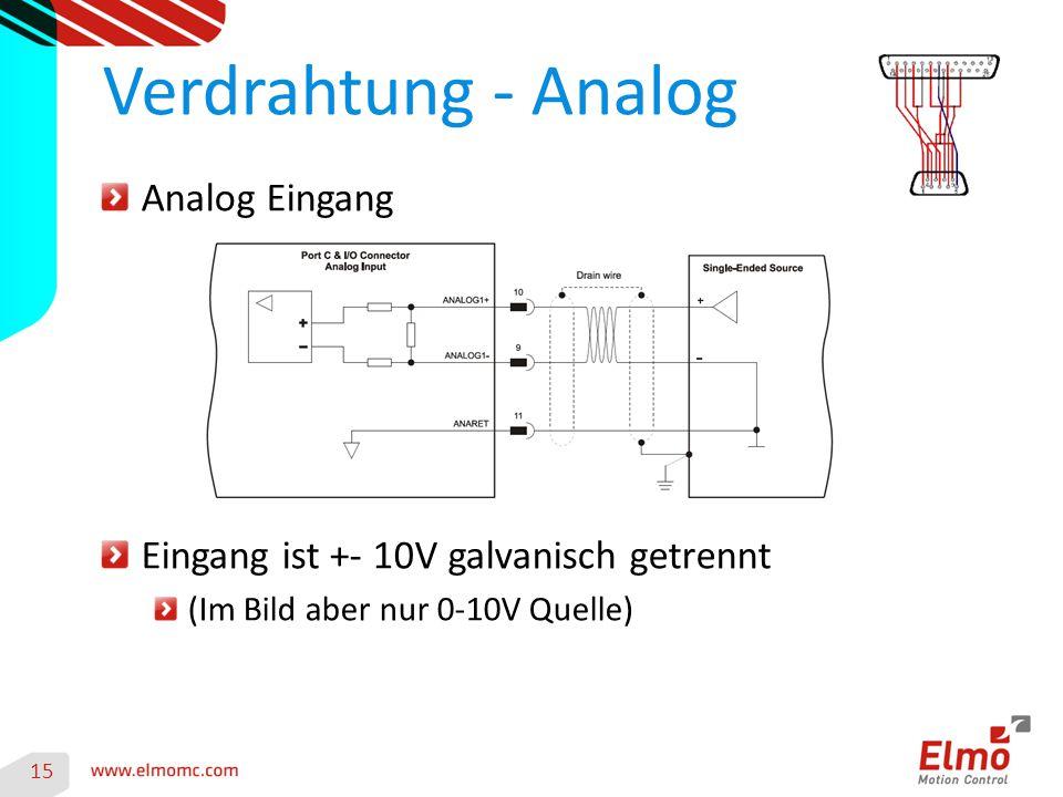 15 Verdrahtung - Analog Analog Eingang Eingang ist +- 10V galvanisch getrennt (Im Bild aber nur 0-10V Quelle)