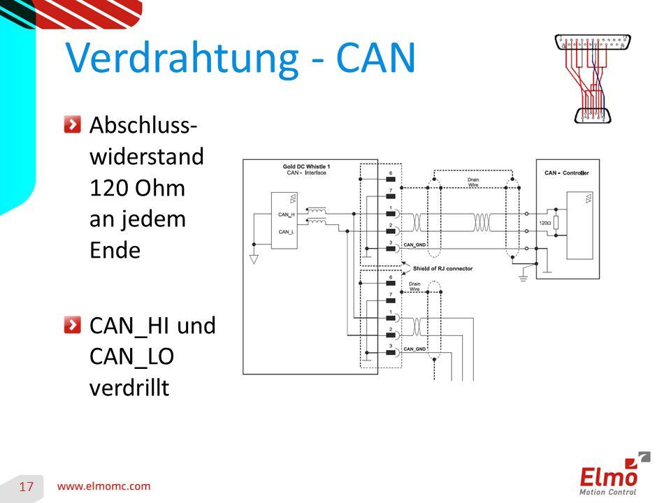 17 Verdrahtung - CAN Abschluss- widerstand 120 Ohm an jedem Ende CAN_HI und CAN_LO verdrillt