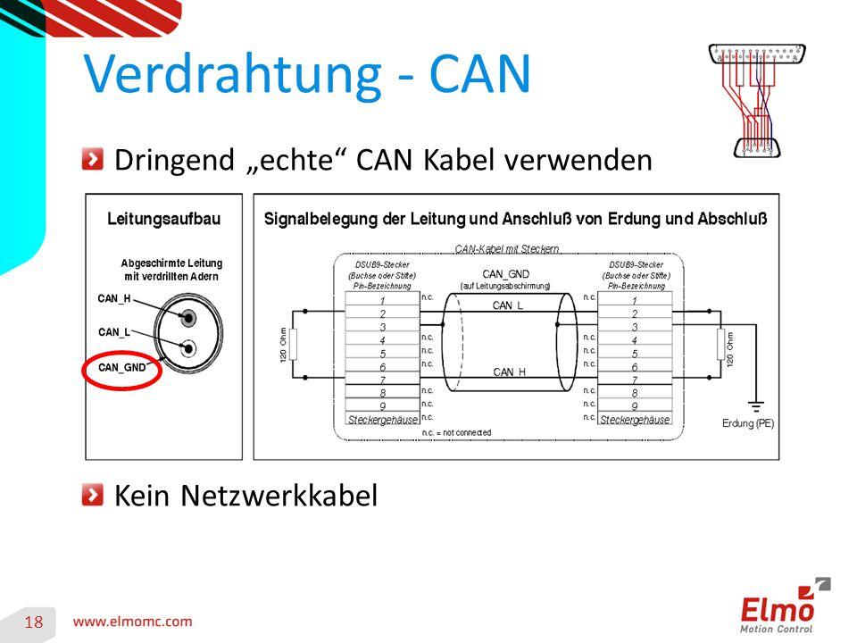 """18 Verdrahtung - CAN Dringend """"echte CAN Kabel verwenden Kein Netzwerkkabel"""