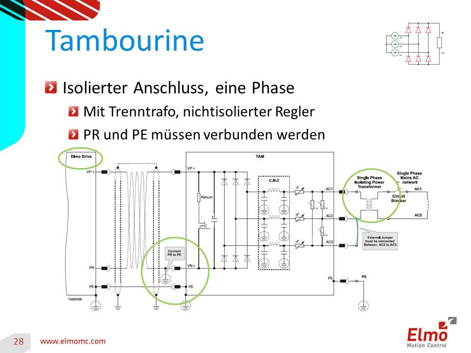 28 Tambourine Isolierter Anschluss, eine Phase Mit Trenntrafo, nichtisolierter Regler PR und PE müssen verbunden werden