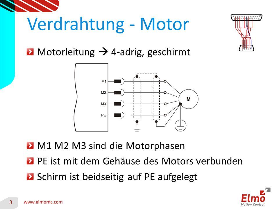 3 Verdrahtung - Motor Motorleitung  4-adrig, geschirmt M1 M2 M3 sind die Motorphasen PE ist mit dem Gehäuse des Motors verbunden Schirm ist beidseitig auf PE aufgelegt