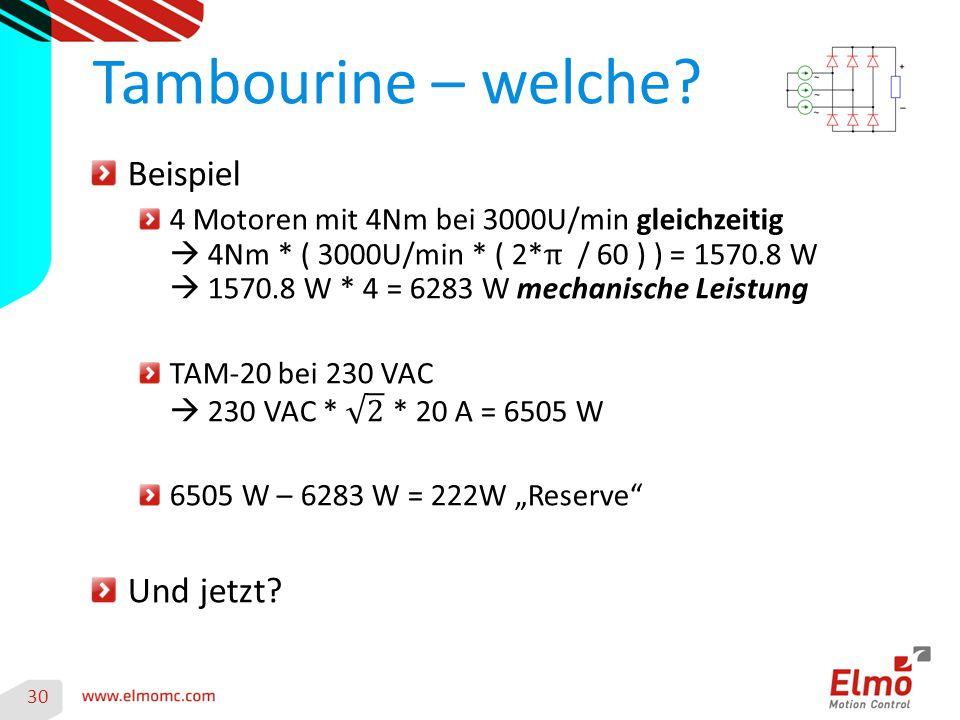 30 Tambourine – welche?