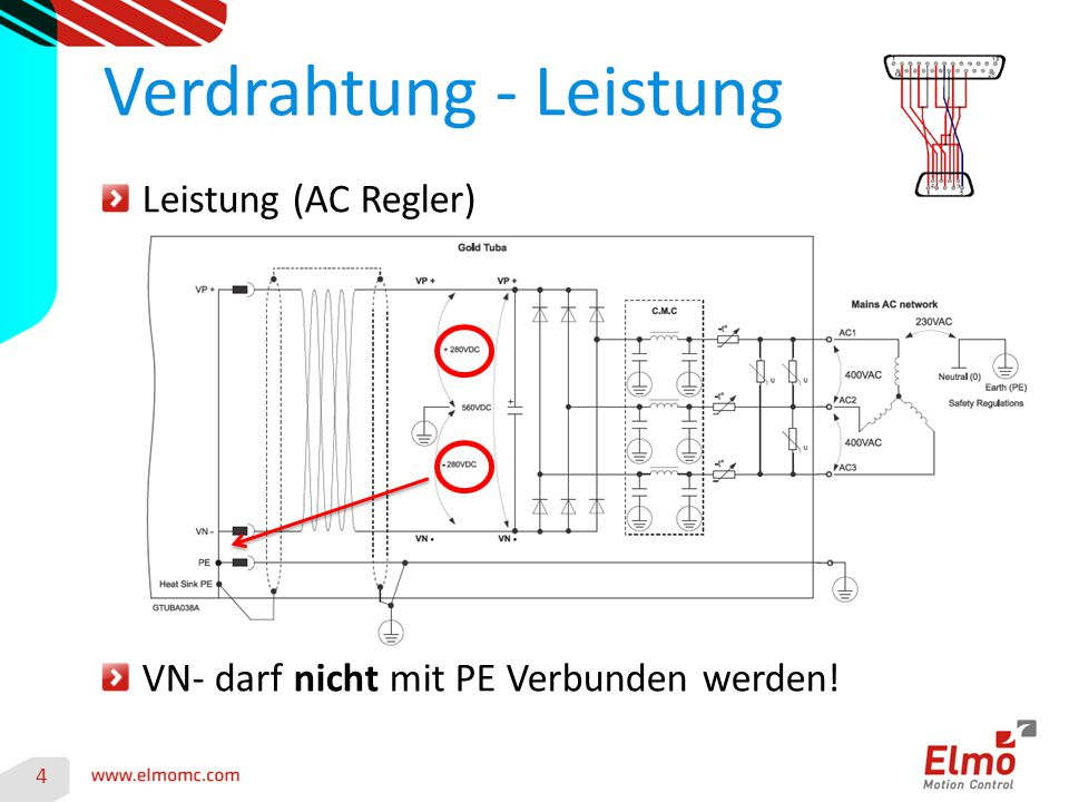 4 Verdrahtung - Leistung Leistung (AC Regler) VN- darf nicht mit PE Verbunden werden!