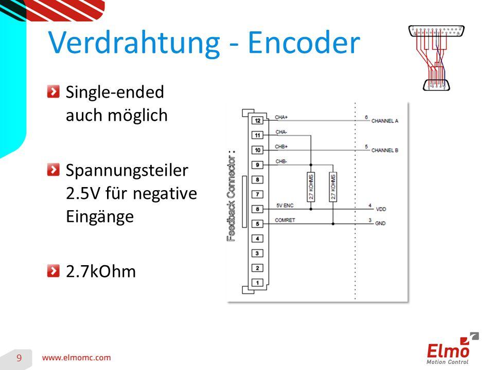 9 Verdrahtung - Encoder Single-ended auch möglich Spannungsteiler 2.5V für negative Eingänge 2.7kOhm