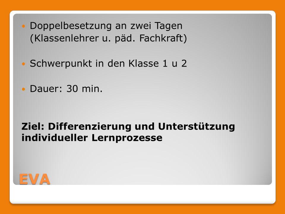 EVA Doppelbesetzung an zwei Tagen (Klassenlehrer u. päd. Fachkraft) Schwerpunkt in den Klasse 1 u 2 Dauer: 30 min. Ziel: Differenzierung und Unterstüt