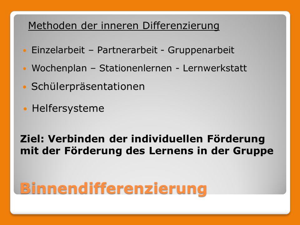 Binnendifferenzierung Methoden der inneren Differenzierung Ziel: Verbinden der individuellen Förderung mit der Förderung des Lernens in der Gruppe