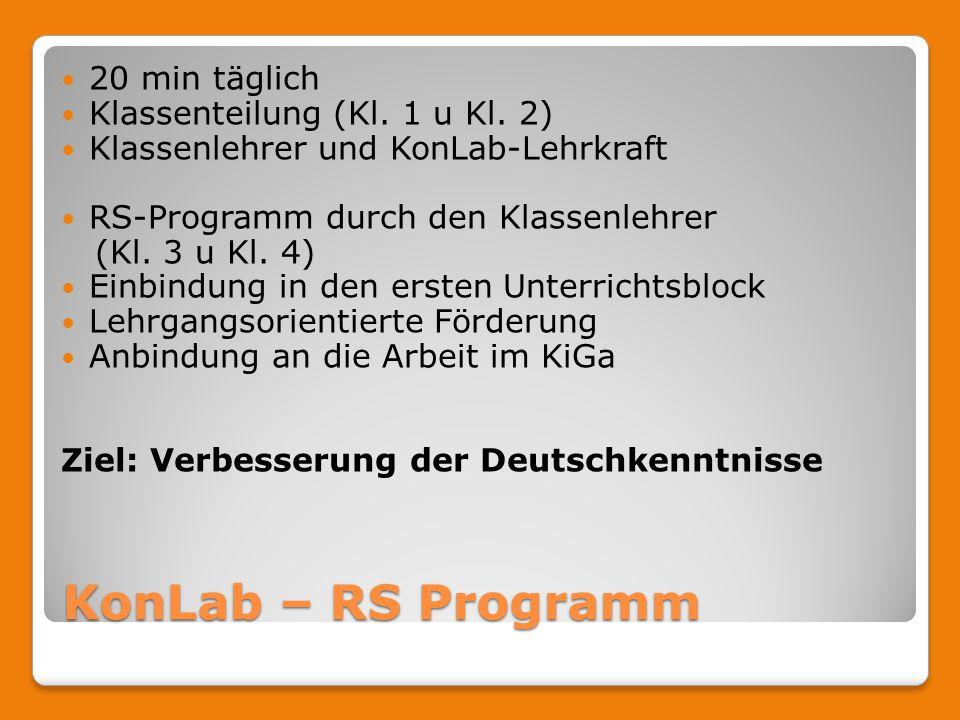 KonLab – RS Programm 20 min täglich Klassenteilung (Kl.
