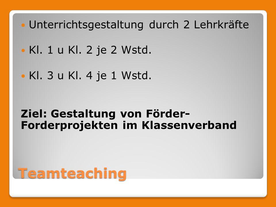 Teamteaching Unterrichtsgestaltung durch 2 Lehrkräfte Kl.