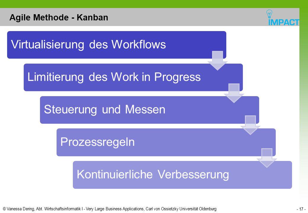 © Vanessa Dering, Abt. Wirtschaftsinformatik I - Very Large Business Applications, Carl von Ossietzky Universität Oldenburg - 17 - Agile Methode - Kan