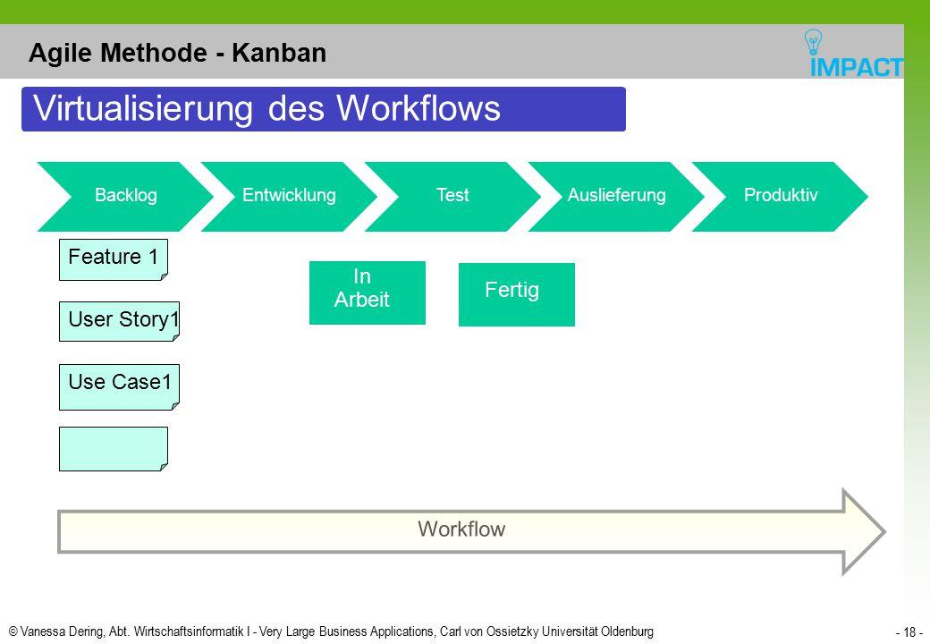 © Vanessa Dering, Abt. Wirtschaftsinformatik I - Very Large Business Applications, Carl von Ossietzky Universität Oldenburg - 18 - Agile Methode - Kan