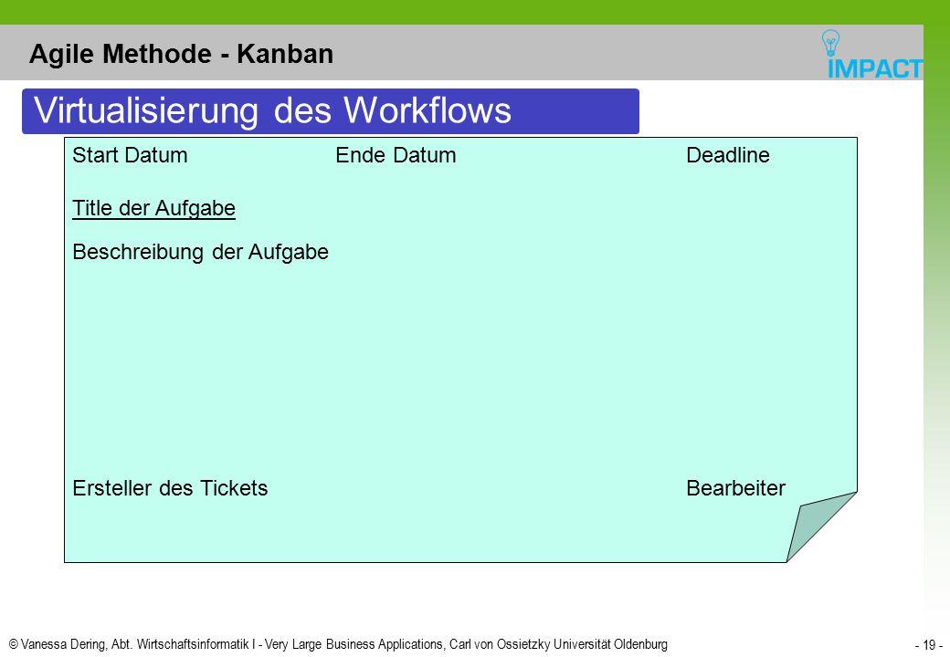 © Vanessa Dering, Abt. Wirtschaftsinformatik I - Very Large Business Applications, Carl von Ossietzky Universität Oldenburg - 19 - Agile Methode - Kan