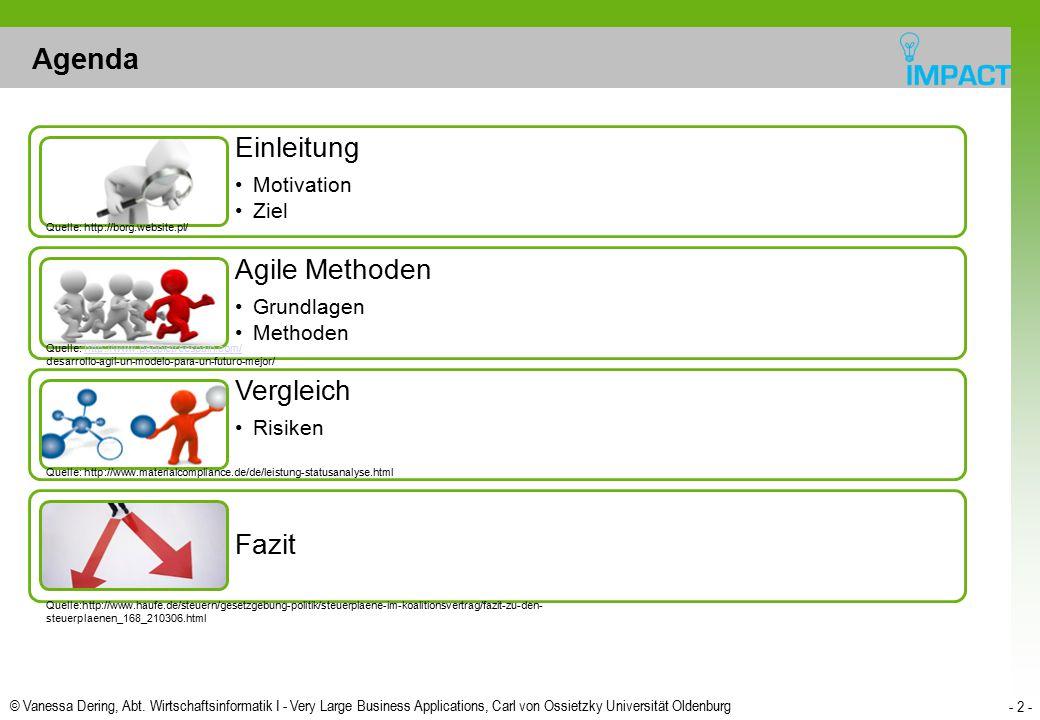© Vanessa Dering, Abt. Wirtschaftsinformatik I - Very Large Business Applications, Carl von Ossietzky Universität Oldenburg - 2 - Agenda Einleitung Mo