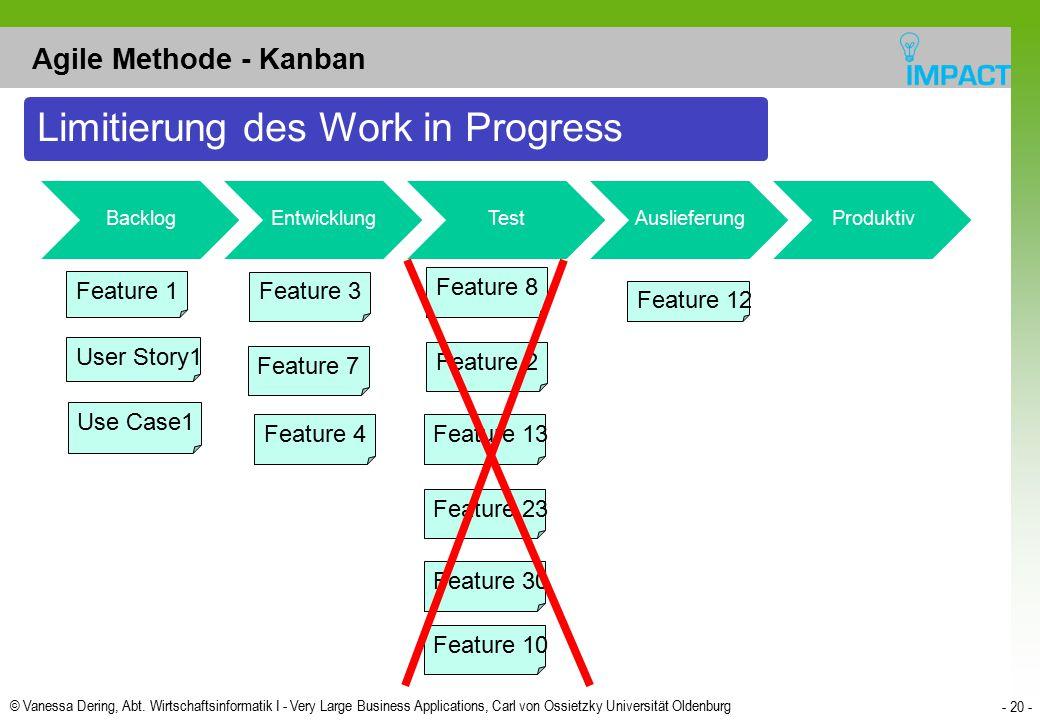 © Vanessa Dering, Abt. Wirtschaftsinformatik I - Very Large Business Applications, Carl von Ossietzky Universität Oldenburg - 20 - Agile Methode - Kan