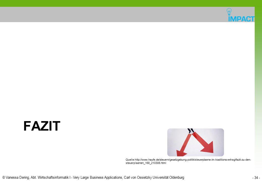 © Vanessa Dering, Abt. Wirtschaftsinformatik I - Very Large Business Applications, Carl von Ossietzky Universität Oldenburg - 34 - FAZIT Quelle:http:/