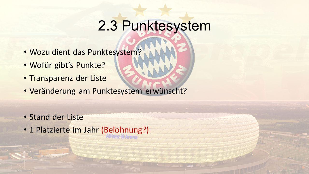 2.3 Punktesystem Wozu dient das Punktesystem? Wofür gibt's Punkte? Transparenz der Liste Veränderung am Punktesystem erwünscht? Stand der Liste 1 Plat
