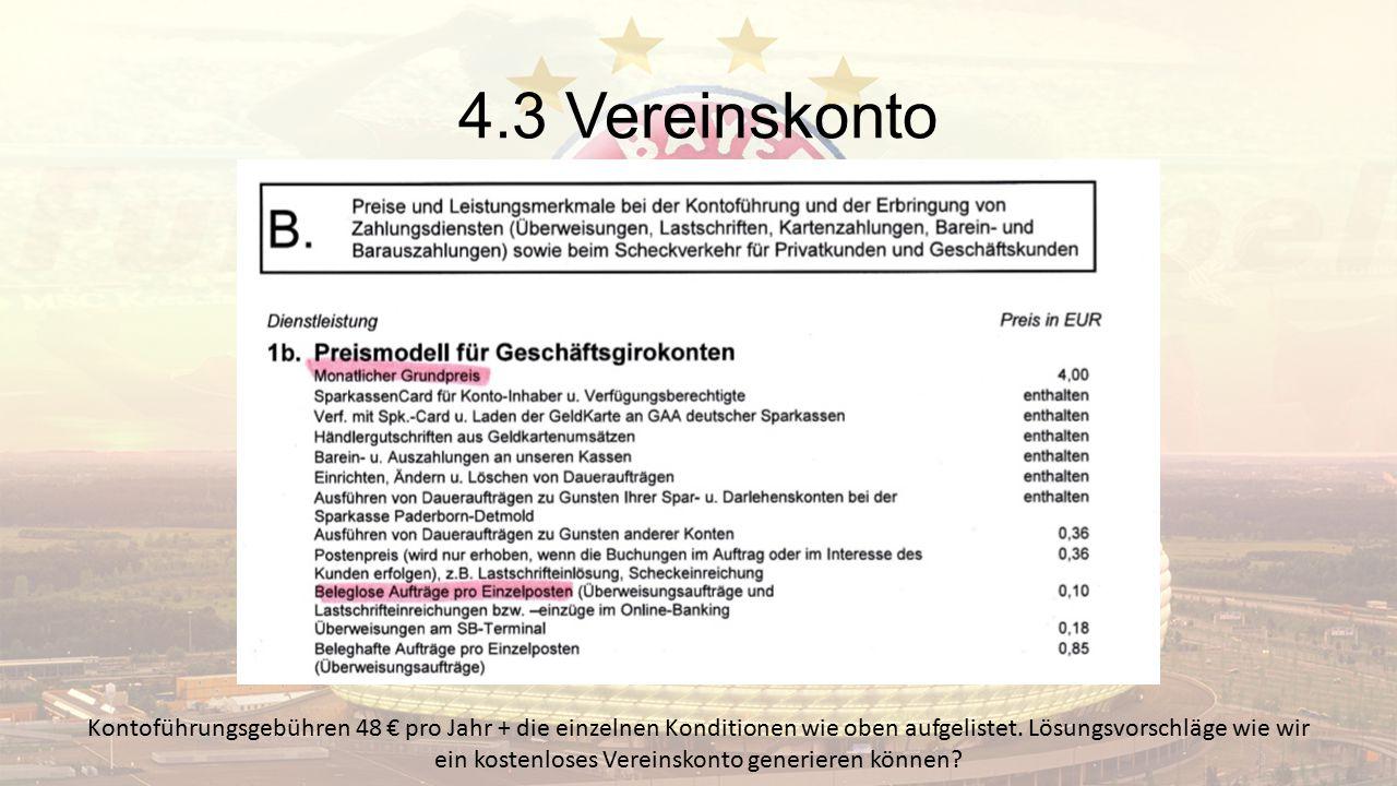 4.3 Vereinskonto Kontoführungsgebühren 48 € pro Jahr + die einzelnen Konditionen wie oben aufgelistet. Lösungsvorschläge wie wir ein kostenloses Verei