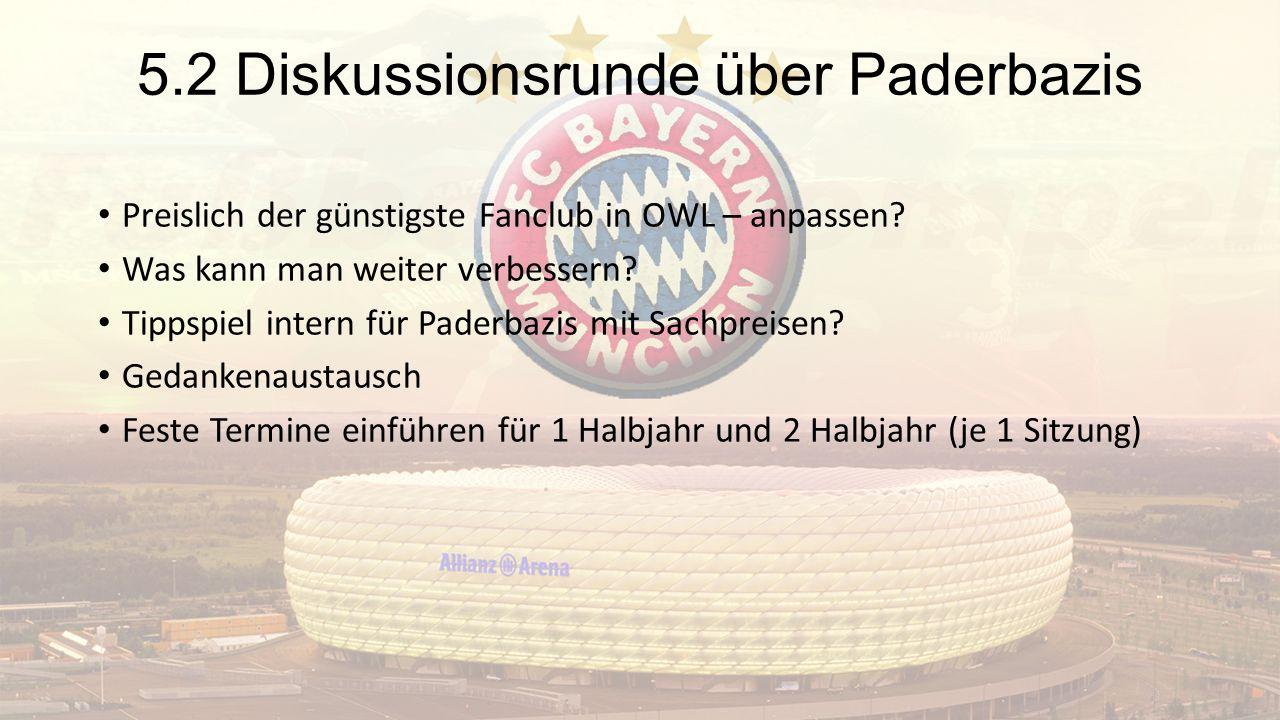 5.2 Diskussionsrunde über Paderbazis Preislich der günstigste Fanclub in OWL – anpassen? Was kann man weiter verbessern? Tippspiel intern für Paderbaz