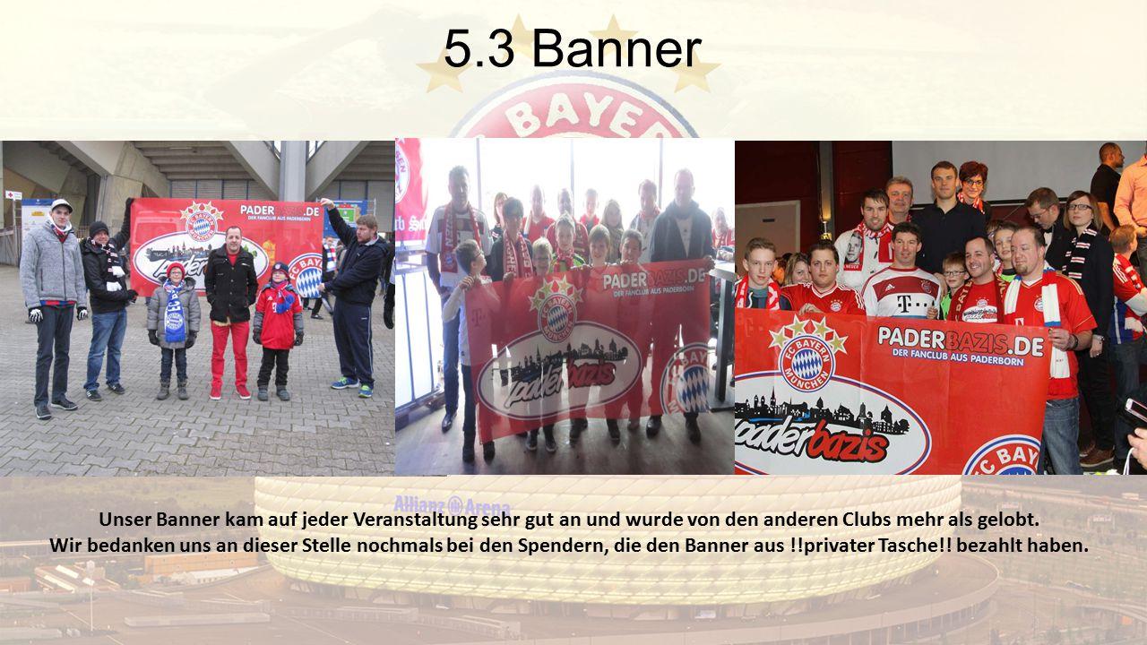 5.3 Banner Unser Banner kam auf jeder Veranstaltung sehr gut an und wurde von den anderen Clubs mehr als gelobt. Wir bedanken uns an dieser Stelle noc