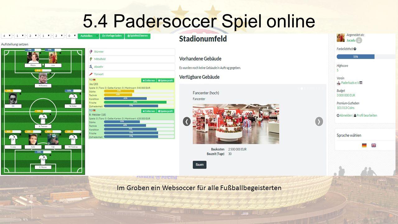 5.4 Padersoccer Spiel online Im Groben ein Websoccer für alle Fußballbegeisterten