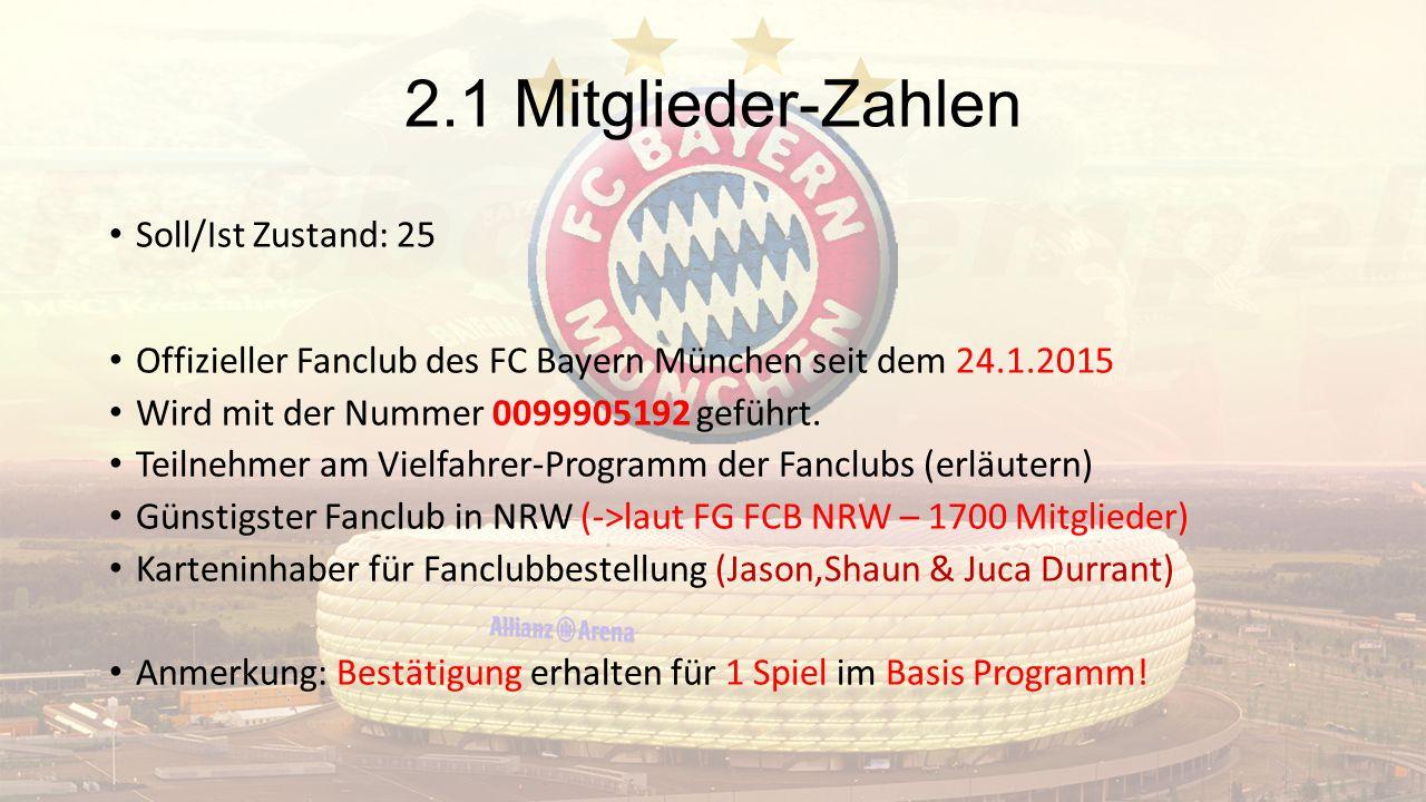 2.1 Mitglieder-Zahlen Soll/Ist Zustand: 25 Offizieller Fanclub des FC Bayern München seit dem 24.1.2015 Wird mit der Nummer 0099905192 geführt.