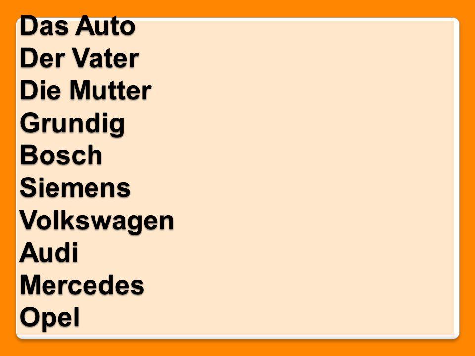 Das Auto Der Vater Die Mutter Grundig Bosch Siemens Volkswagen Audi Mercedes Opel